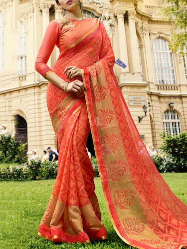 peach satin printed saree with blouse - 14513553 - Standard Image - 1