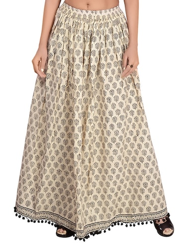 Beige cotton flared skirt - 14513705 - Standard Image - 1