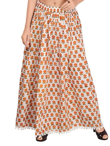Orange cotton flared skirt - 14513708 - Standard Image - 1