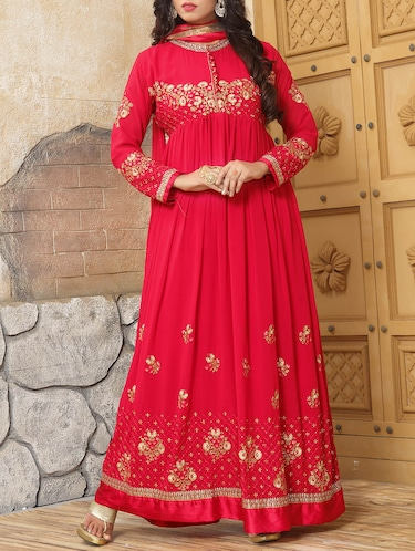 Embroidered semi-stitched flared suit - 14514080 - Standard Image - 1