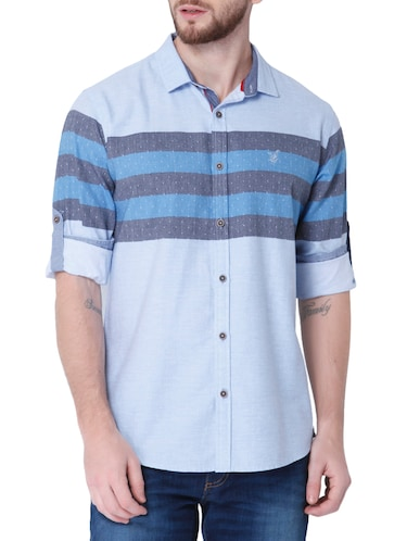 blue cotton casual shirt - 14514093 - Standard Image - 1