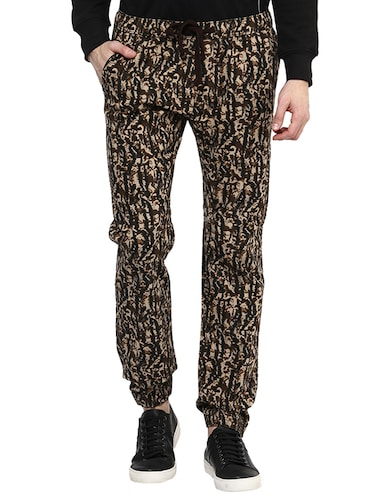 brown cotton  full length jogger - 14514181 - Standard Image - 1