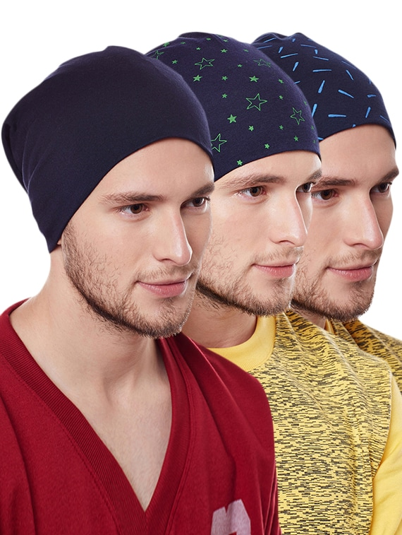 Buy (set Of 3)blue Cotton Winter Caps by Vimal - Online shopping for ... b8845d0f2d7