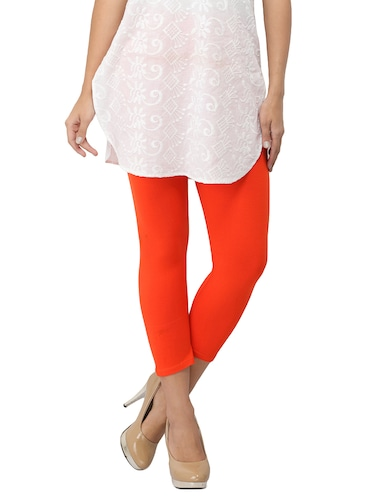 orange cotton lycra leggings - 14514774 - Standard Image - 1