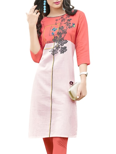 white cotton blend straight kurta - 14515277 - Standard Image - 1