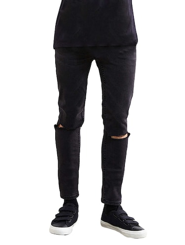 black denim slash knee jeans - 14515583 - Standard Image - 1