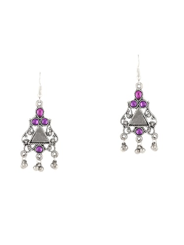 silver metal drop earrings - 14515951 - Standard Image - 1