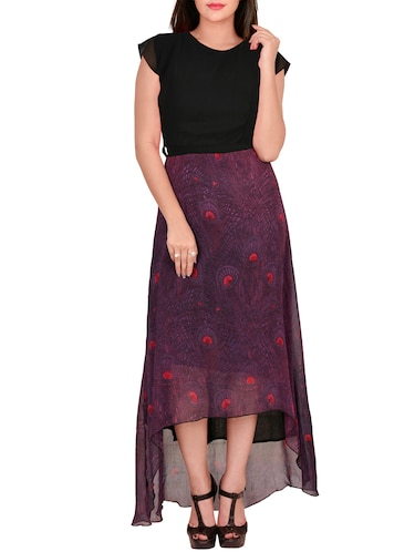 Purple printed high low dress - 14516273 - Standard Image - 1