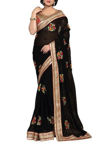 black georgette embroidered saree with blouse - 14516281 - Standard Image - 1