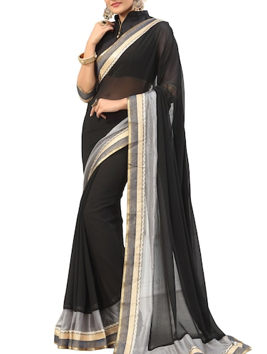black bordered saree with blouse - 14516295 - Standard Image - 1