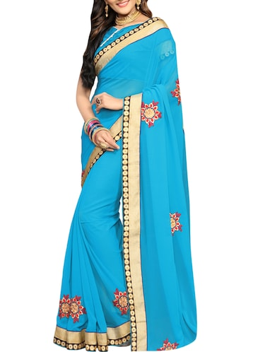 blue embroidered saree with blouse - 14516300 - Standard Image - 1