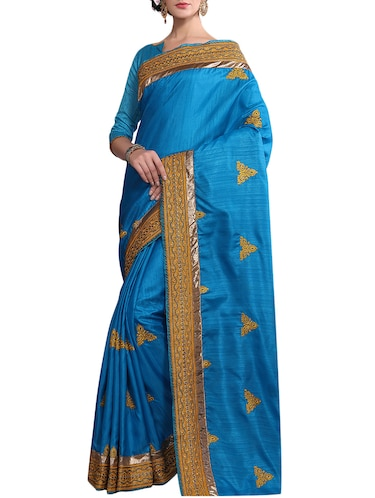 blue silk embroidered saree with blouse - 14516312 - Standard Image - 1