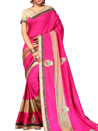 pink embroidered saree with blouse - 14516336 - Standard Image - 1