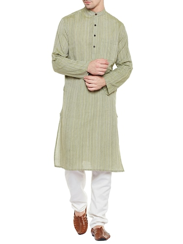 green cotton long kurta - 14517389 - Standard Image - 1