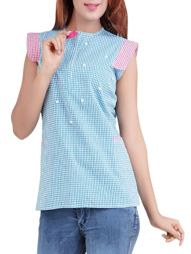 blue checkered top - 14519313 - Standard Image - 1
