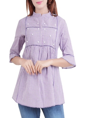 purple checkered cotton tunic - 14519322 - Standard Image - 1