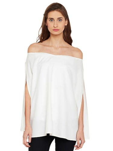 Slit sleeved off shoulder top - 14519341 - Standard Image - 1