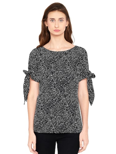 Side tie up sleeved top - 14519342 - Standard Image - 1