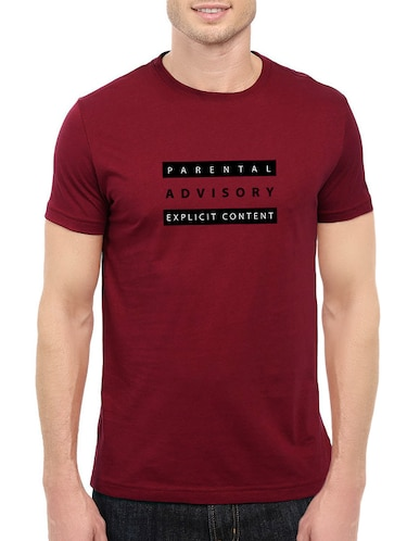 maroon cotton chest print tshirt - 14520671 - Standard Image - 1