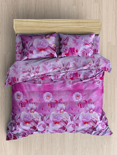160 TC Premium 3D PolyCotton Double Bed Sheet with 2 Pillow Cover - 14520690 - Standard Image - 1