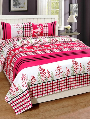 PolyCotton Printed Double Bed Sheet with 2 Pillow Covers - 14521084 - Standard Image - 1