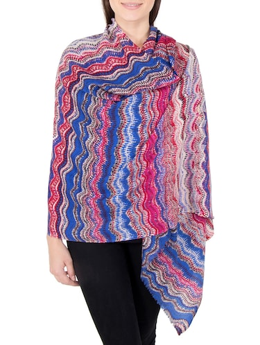 multi colored woolen stole - 14521448 - Standard Image - 1