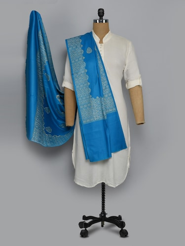 blue colored shawl - 14521647 - Standard Image - 1