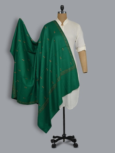 green embroidered shawl - 14521707 - Standard Image - 1