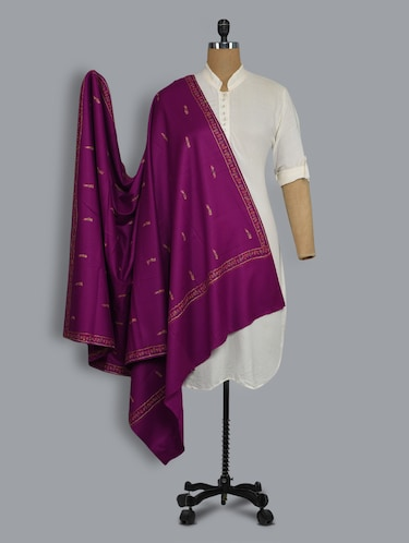 Purple embroidered shawl - 14521708 - Standard Image - 1