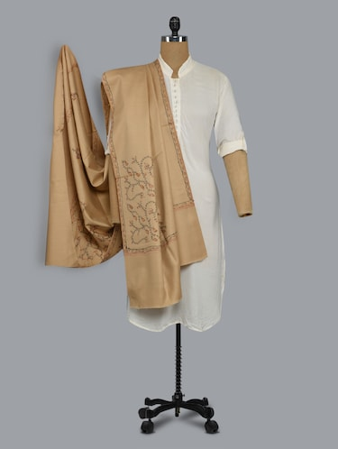 beige embroidered shawl - 14521719 - Standard Image - 1