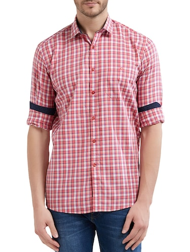 red cotton casual shirt - 14525671 - Standard Image - 1