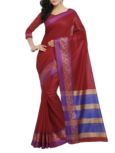 maroon cotton bordered saree with blouse - 14527238 - Standard Image - 1