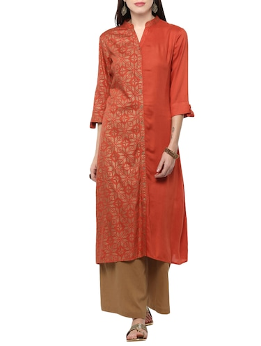 orange viscose straight kurta - 14527355 - Standard Image - 1