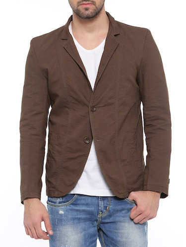 brown cotton casual blazer - 14527423 - Standard Image - 1