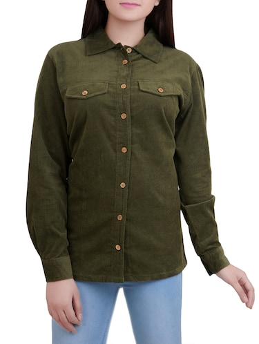 green cotton corduroy shirt - 14527839 - Standard Image - 1