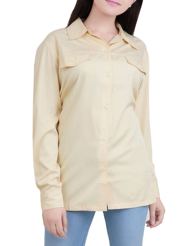 solid yellow viscose shirt - 14527846 - Standard Image - 1