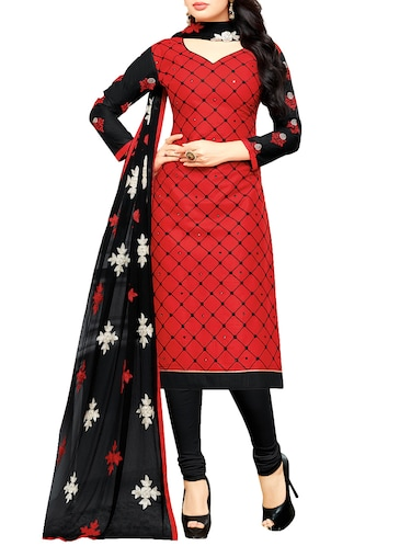 red churidaar suits dress material - 14527897 - Standard Image - 1