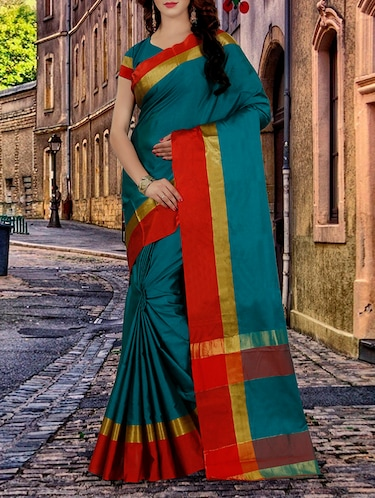 turquoise tussar silk bordered saree with blouse - 14528476 - Standard Image - 1