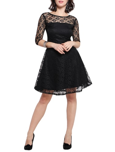 black net fit and flare dress - 14528877 - Standard Image - 1