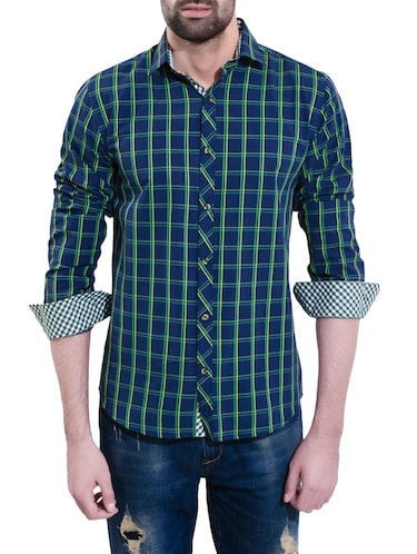 blue cotton casual shirt - 14528982 - Standard Image - 1