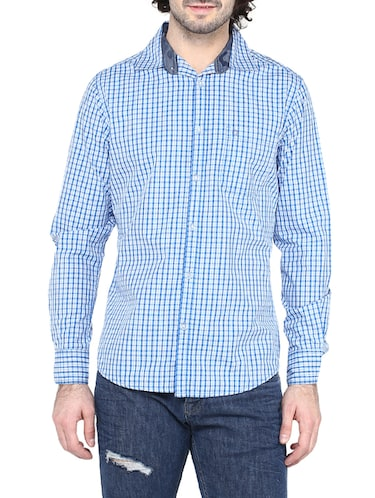 blue cotton casual shirt - 14528991 - Standard Image - 1