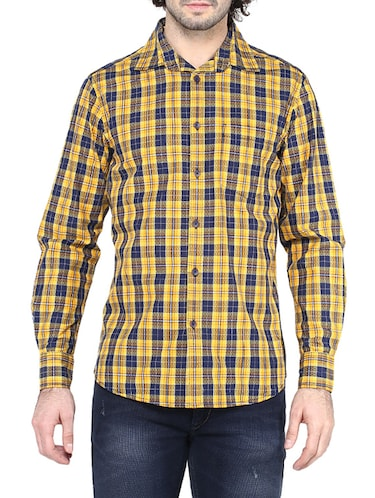 yellow cotton casual shirt - 14528993 - Standard Image - 1