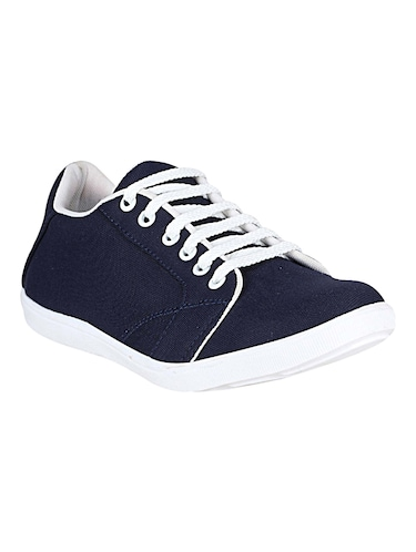 navy canvas lace up sneakers - 14529127 - Standard Image - 1