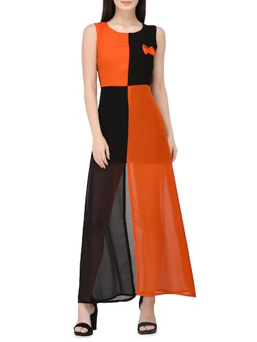 orange georgette a-line dress - 14529315 - Standard Image - 1