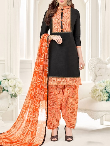 Black Cotton Blend Unstitched Dress Material - 14529726 - Standard Image - 1