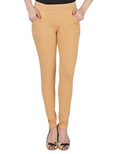 beige cotton lycra jeggings - 14529900 - Standard Image - 1