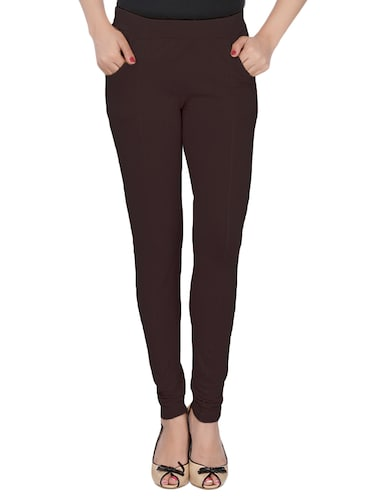 brown cotton lycra jeggings - 14529963 - Standard Image - 1
