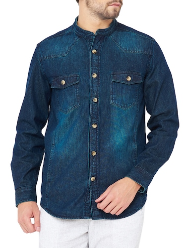 blue denim casual shirt - 14531159 - Standard Image - 1