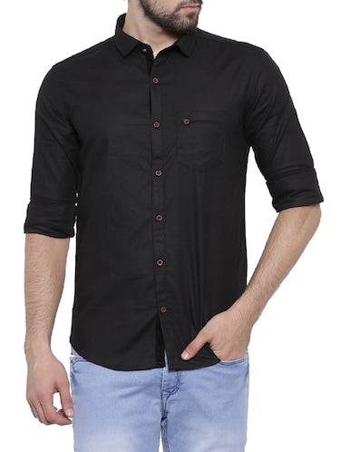 black cotton casual shirt - 14531669 - Standard Image - 1