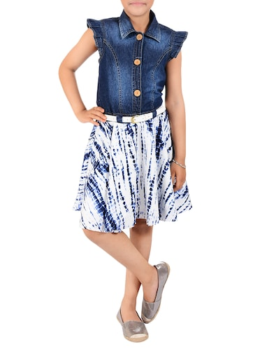 navy blue cotton frock - 14532494 - Standard Image - 1